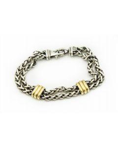 Estate David Yurman Sterling Silver and Yellow Gold Bracelet