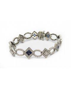 Estate White Gold Diamond and Sapphire Bracelet