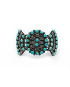 American Indian Sterling Silver and Turquoise Cuff Bracelet