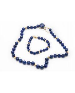 Estate Lapis Lazuli Necklace and Bracelet Suite
