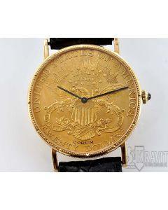 PRIVATE COLLECTION MK Corum 1898 $20 Gold Coin Men's Wristwatch Circa 1990's