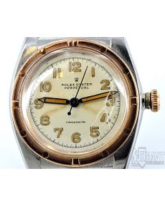 PRIVATE COLLECTION MK Very Rare Rolex Two Tone Bubble Back Pink and Steel Ref 3372 Circa 1946