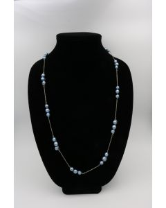 1970's 14K White Gold Cultured Pearl Necklace With Earrings