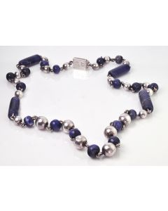 1950's Mexican Sterling Silver and Glass Bead Necklace