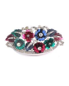 MK Multi Color Floral Basket Brooch