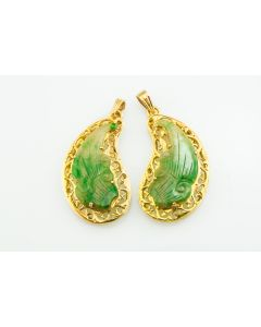 1950's Yellow Gold and Carved Jadeite Jade Earrings