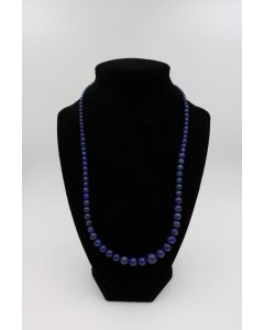 1970's Lapis Lazuli Bead Necklace with Sterling Clasp