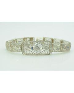 Art Deco White Gold and Diamond Filigree Wide Bracelet