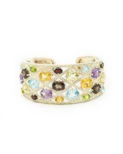Estate Judith Ripka Sterling Silver and Gemstone Cuff Bracelet