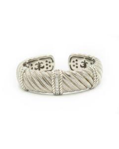 Estate Judith Ripka Sterling Silver and Cubic Zircon Bangle Bracelet