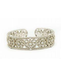 Estate Judith Ripka Bangle Sterling Silver and Cubic Zircon Bangle Bracelet