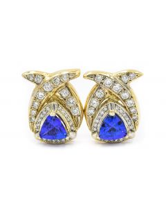 Contemporary Yellow Gold Diamond and Tanzanite Earrings